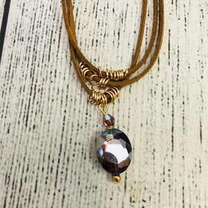 Suede Drop Down Crystal Necklace