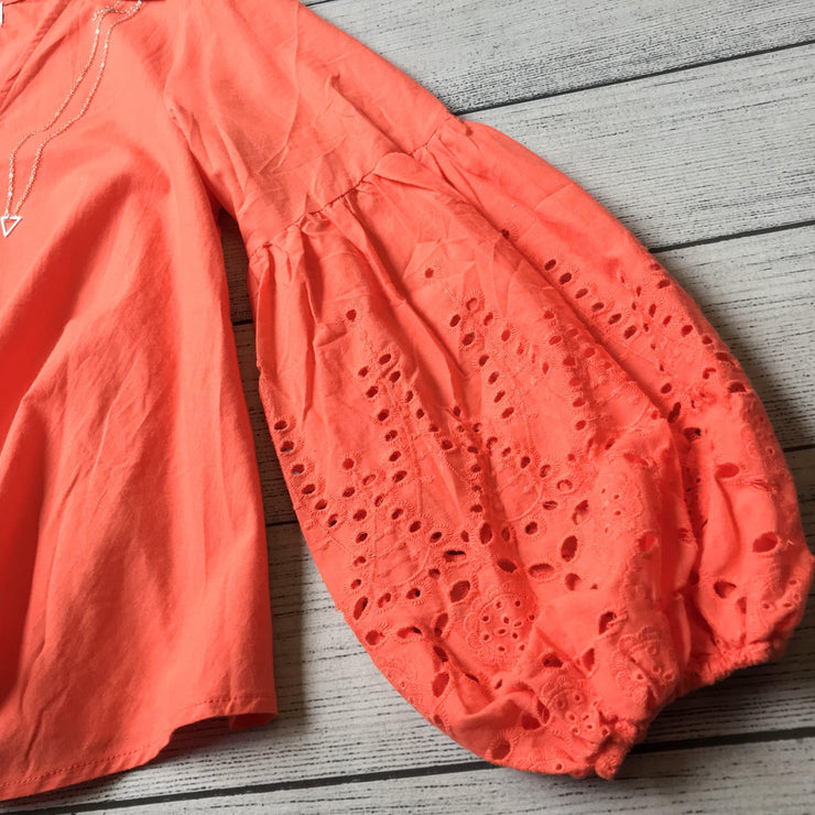 Coral Eyelet Bubble Sleeve Top