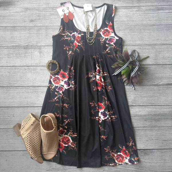 Pleat Top Floral Dress