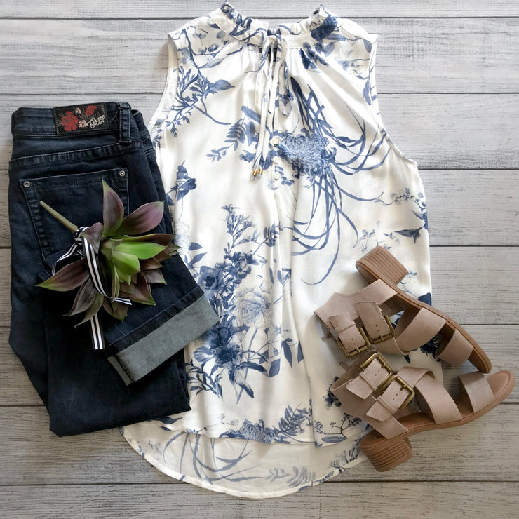 Blue Florals Ruffle Neck Top