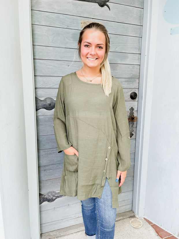 Olive Button Detail Tunic