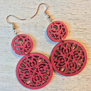 Wood Filigree Earrings