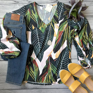 Tropical Balloon Sleeve Top