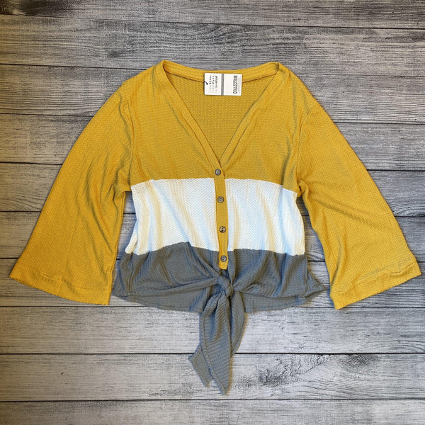 Mustard Color Block Tie Top