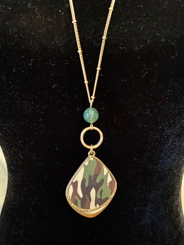 Camo Leather Necklace Set
