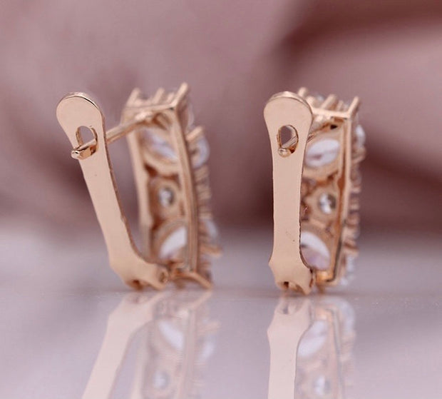 Rose Gold Stone Earrings