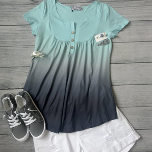 Teal Ombre Button Bib Top