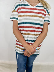 Multi-Stripe Vneck Top