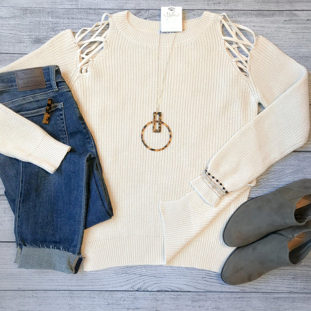 Lace-Up Shoulder Sweater