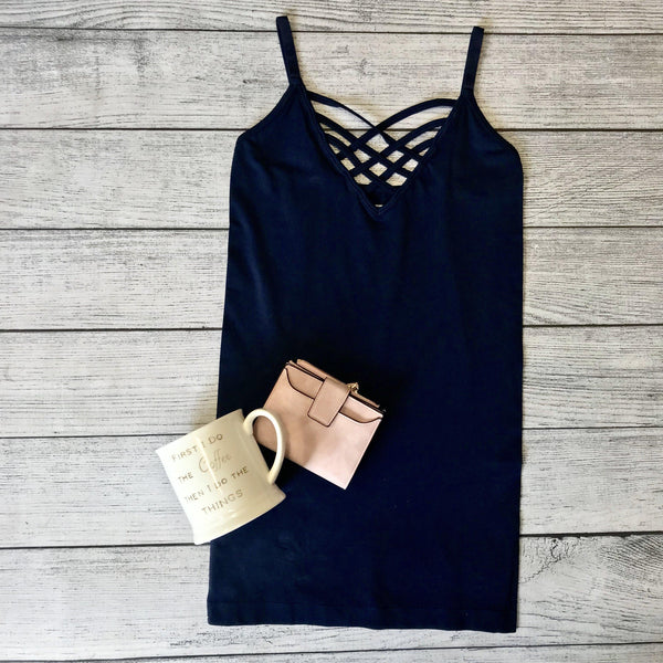 Lattice Front Cami-Navy