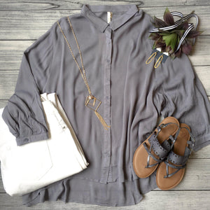 Laced Back Button Down Top