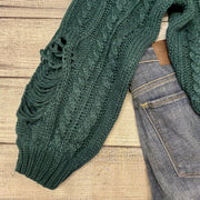 Distressed Cable Crop Sweater