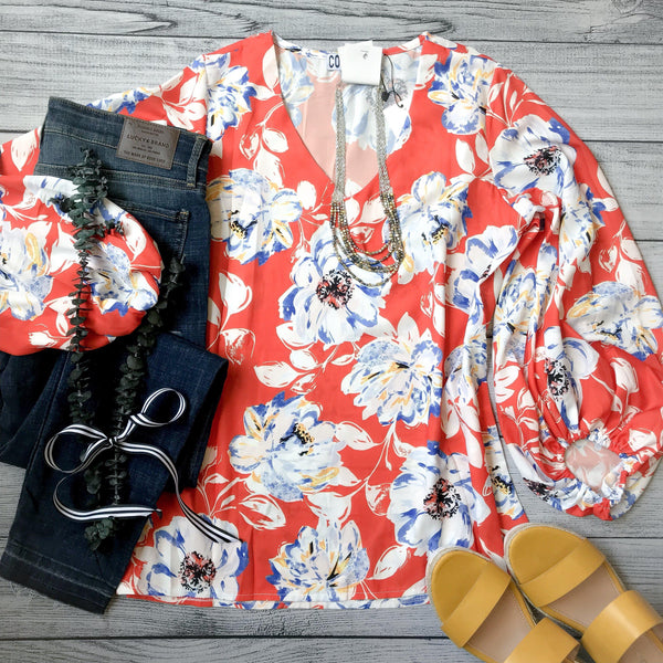 Vibrant Floral Balloon Sleeve Top