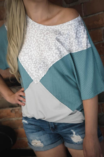 Blue & Leopard Triangle Color Blocked Top S-2X