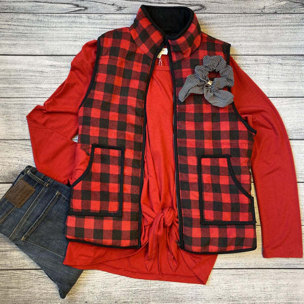 Gingham Plaid Corduroy Vest