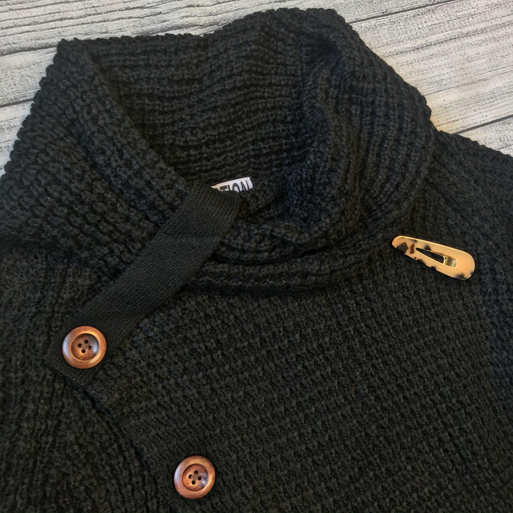Black Button Cowl Sweater-Sweater-Mooi Nu Collection-Small-9Lilas