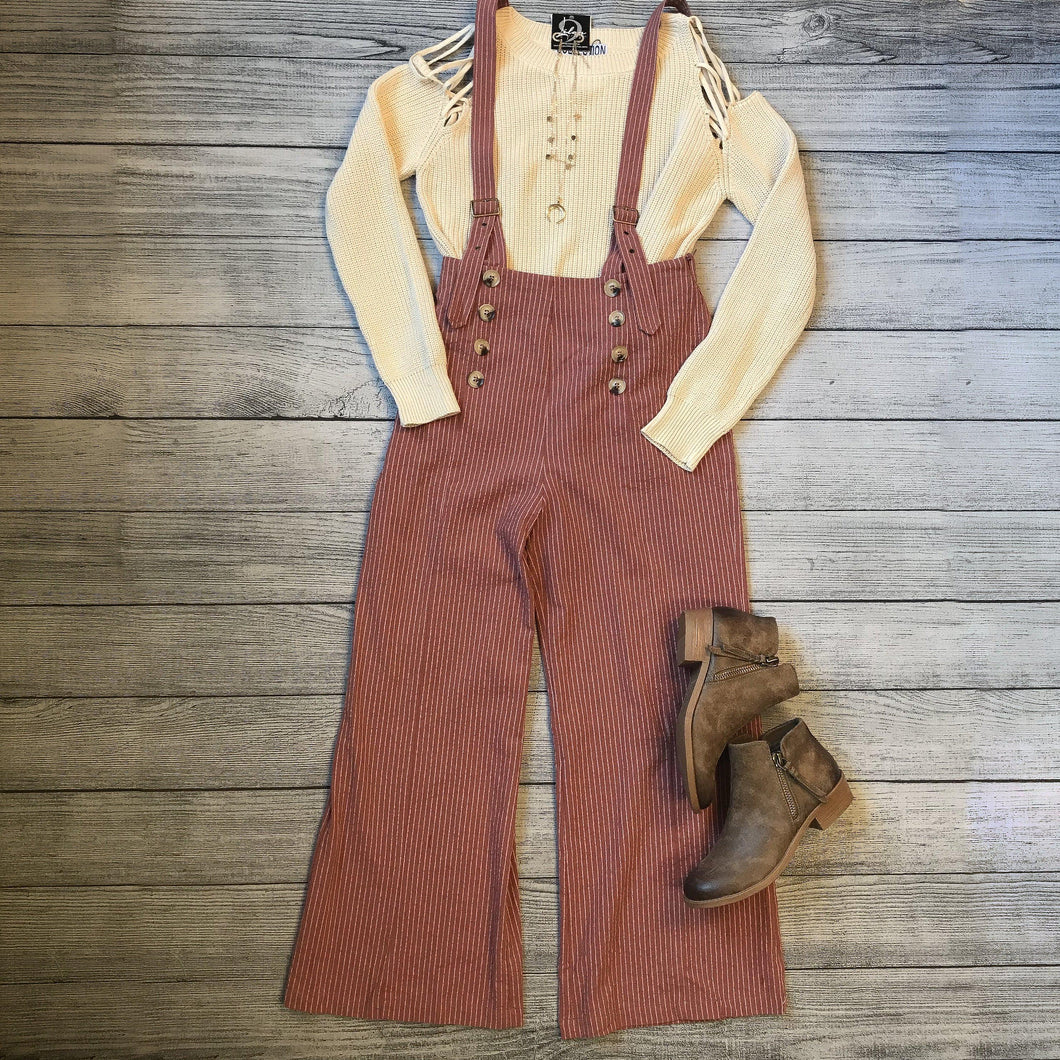 Linen Striped Suspender Pants