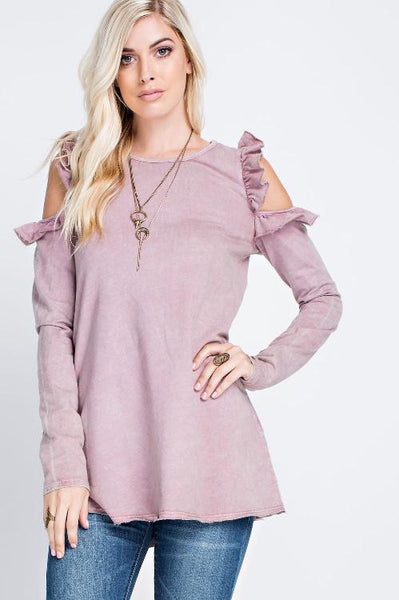 Mineral Washed Ruffle Shoulder Tunic