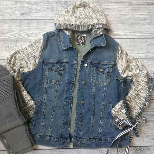Hooded Knit Denim Jacket