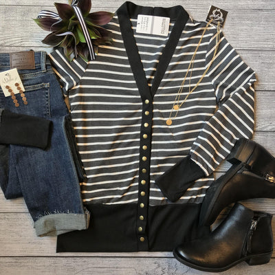 Black Striped Snap Cardigan-Mooi Nu Collection-9Lilas