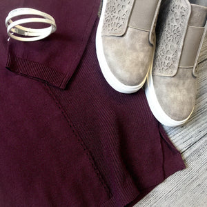 Plum Knit Design Sweater