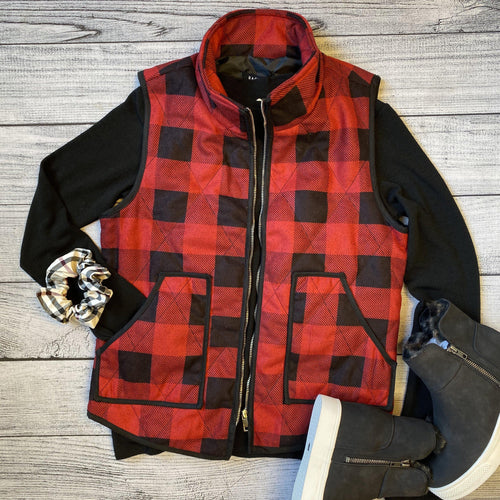Diamond Stitch Plaid Vest