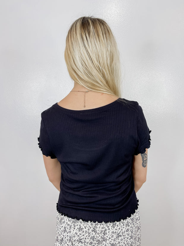 Black Lettuce Ribbed Crop Top