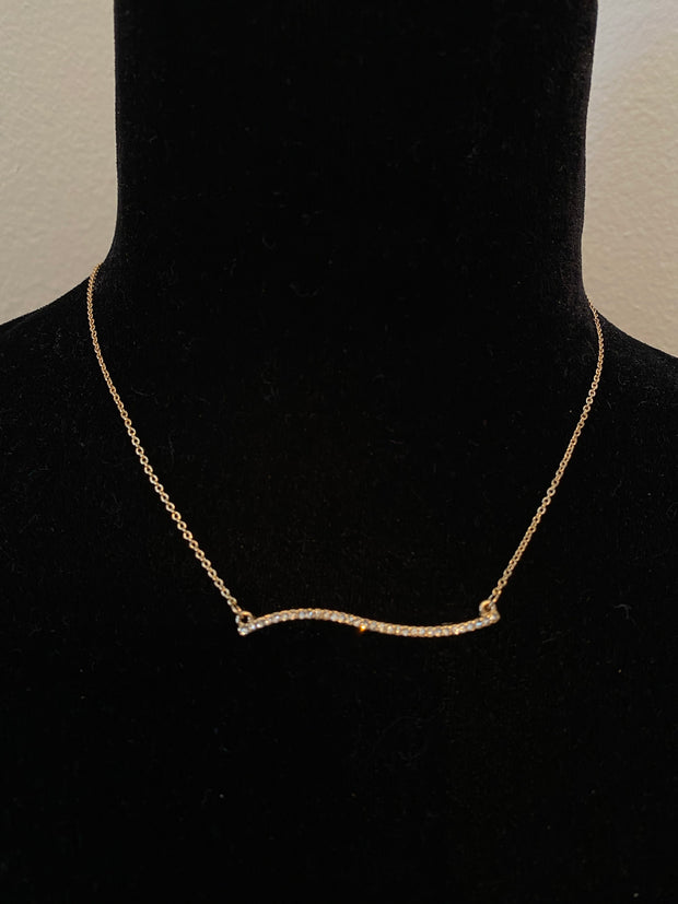 Wavy Pave Bar Necklace Set