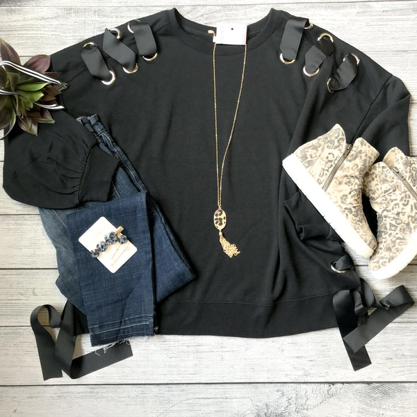 Eyelet Lace-Up Sweatshirt