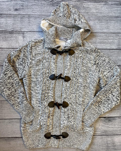 Gray Cable Knit Sweater Jacket