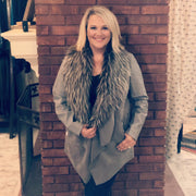 Faux Suede and Fur Jacket