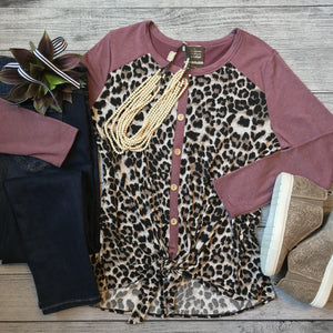 Mulberry Leopard Tie Top