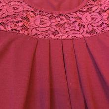 Wine Pleated Lace Top