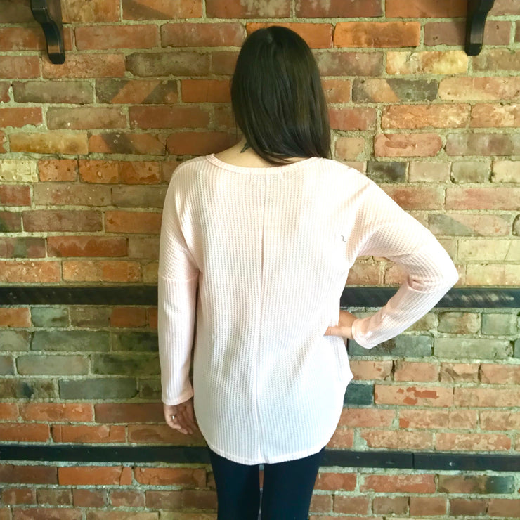 Soft Pink Waffle Knit Top