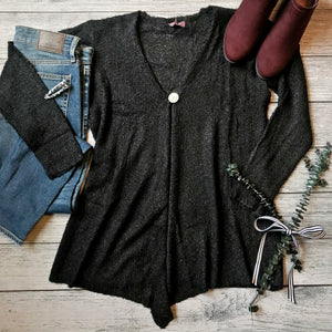 Black Knit Button Cardigan