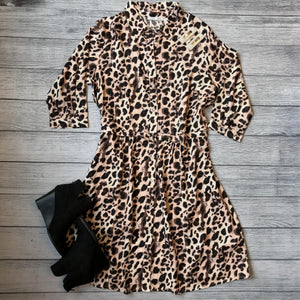 Leopard Button Shirt Dress