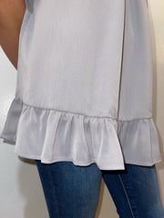 Grey Ruffle Tunic Tank