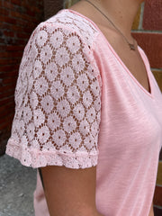 Blush Crochet Sleeve Top