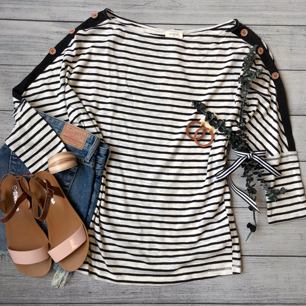 Stripes & Buttons Top