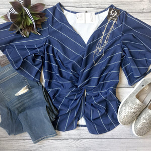 Navy Front Twist Top