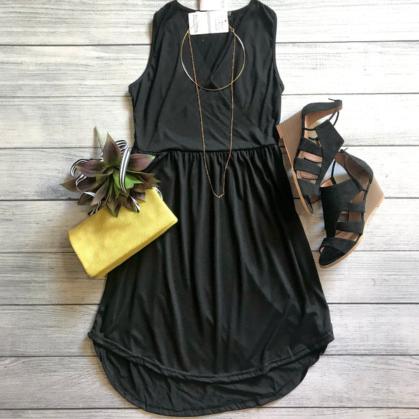 Black Hi-Low Knit Dress
