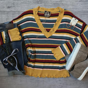 Multi-Stripe Distressed Hem Sweater