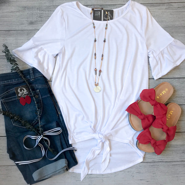 White Ruffle Sleeve Front Tie Top