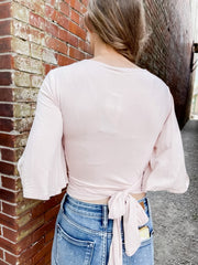 Blush Cropped Tie Top