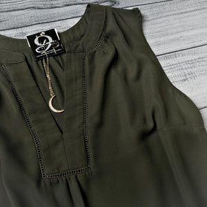 Olive Split Neck Top
