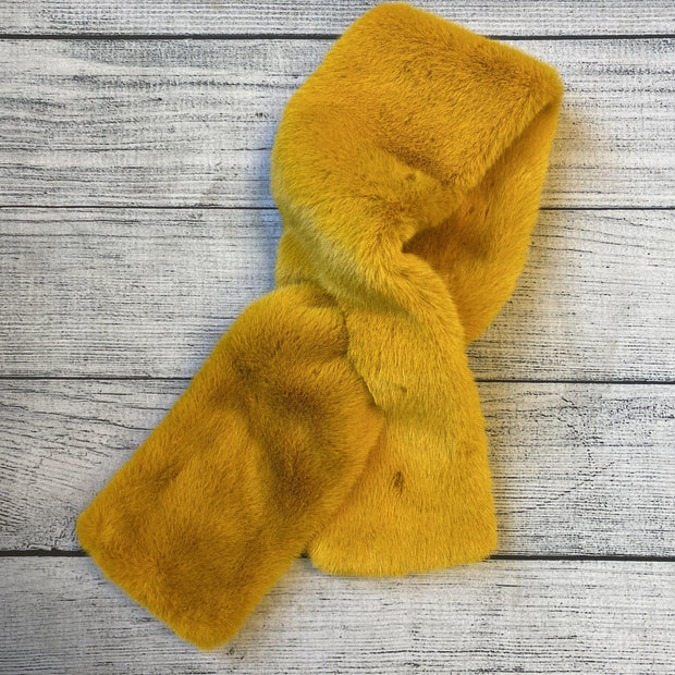 Faux Fur Collar Scarf-Scarf-current air-Mustard-9Lilas