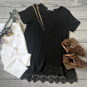 Black Crochet Hem Top