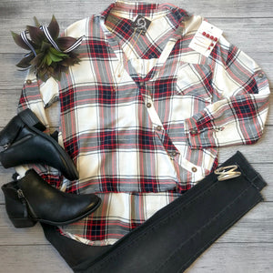 Asymmetrical Button Plaid Top