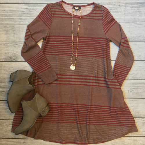 Red Multi-Stripe A Line Tunic