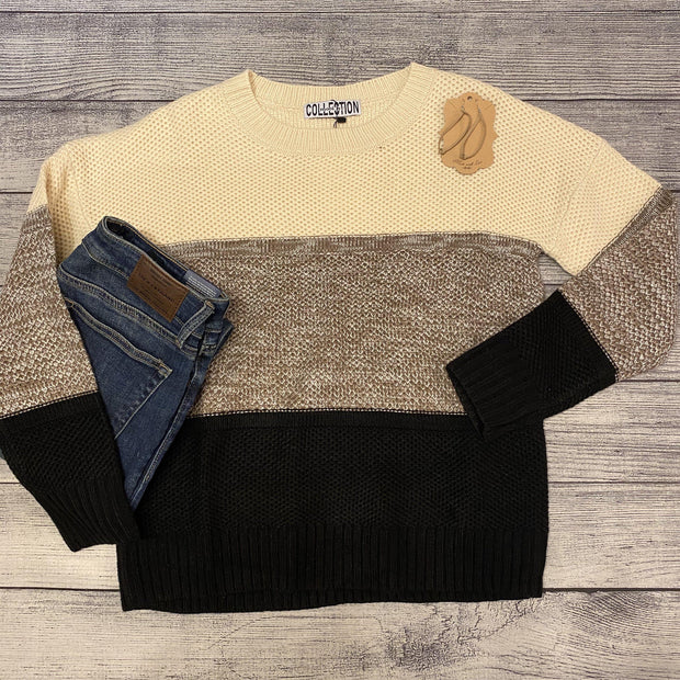 Neutral Color Blocked Sweater